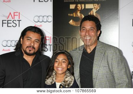 LOS ANGELES - NOV 9:  Jacob Vargas, Jacob's Daughter, Oscar Nunez at the AFI Fest 2015 Presented by Audi -