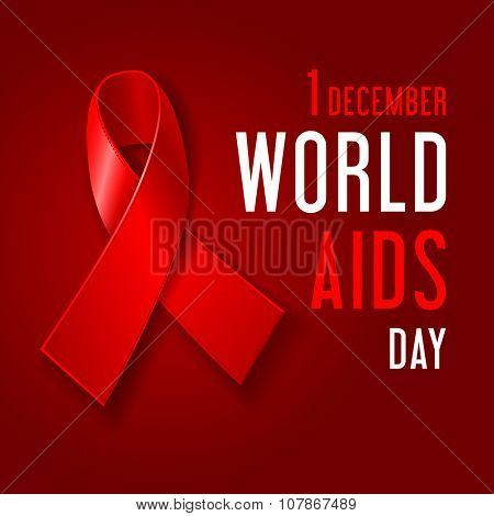 World AIDS Day concept poster with red ribbon of AIDS awareness (symbol for solidarity with HIV-positive people) and text on dark red background. Vector illustration.