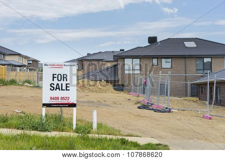 For Sale Sign On Display Oustide Vacant Land In Melbourne