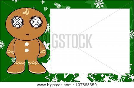 xmas gingerbread kid cartoon expression copyspace