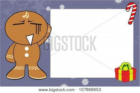 xmas gingerbread kid cartoon expression background