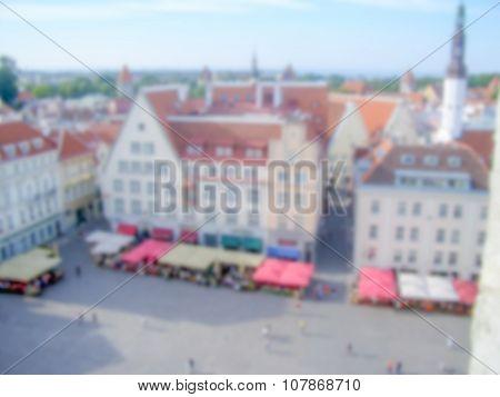 Defocused Background Of  Raekoja Plats In Tallinn. Intentionally Blurred Post Production