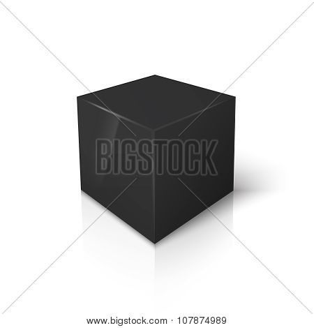 Vector black blank box isolated on white