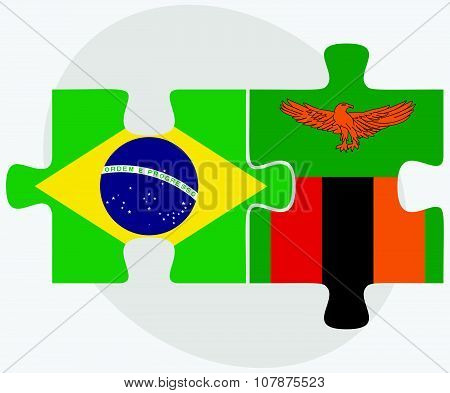 Brazil And Zambia Flags In Puzzle