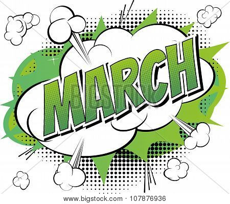 March - Comic book style word