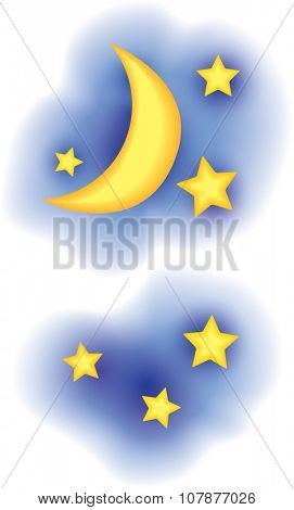 Vector moon and stars with clouds