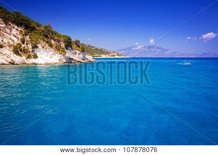 Idyllic coastline of Zakynthos island, Greece poster