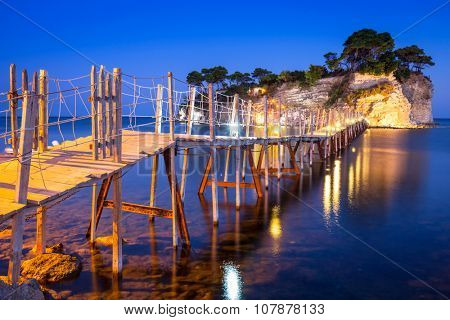Hanging bridge to the island at night, Zakhynthos in Greece