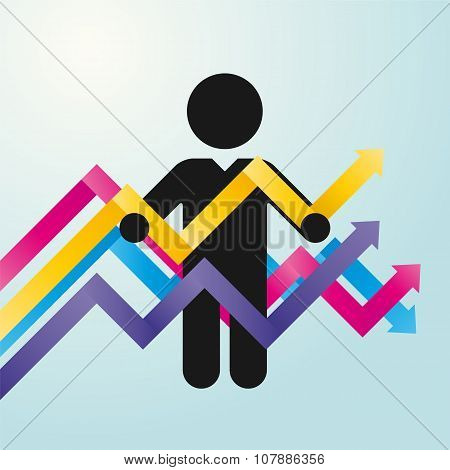 Figure Man Holds Chart Of Colored Arrows