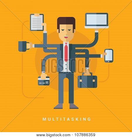 Businessman With Many Hands Doing Many Tasks. Multitasking Business Concept. Vector Flat Style Illus