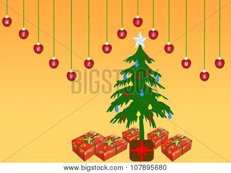 Christmas Tree And Border With Merry Christmas