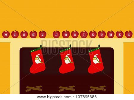 Stockings And Merry Christmas Apples Card