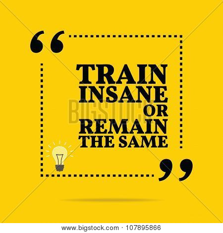 Inspirational Motivational Quote. Train Insane Or Remain The Same.