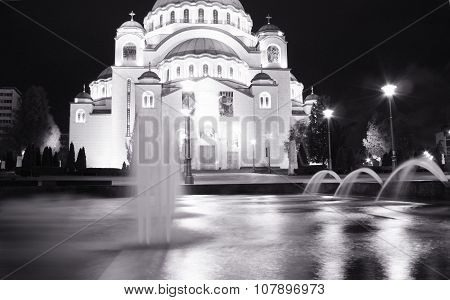 Belgrade one of attractions in town - Saint Sava temple Serbia capital city poster