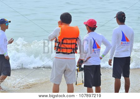 Nha Trang, Vietnam - July 11, 2015: Travellers are waiting for the jetski on the beach