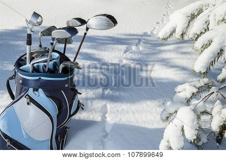 Extreme Golf In Snowy Forest