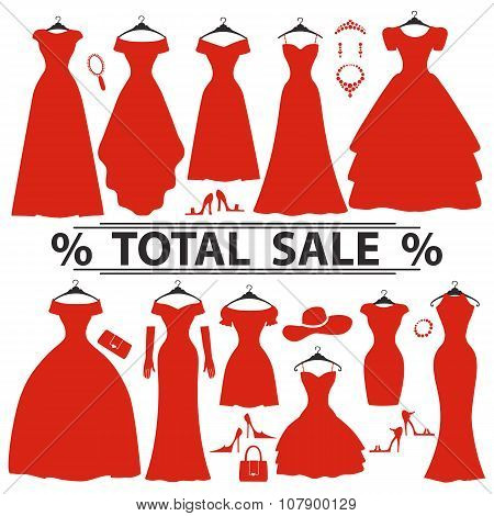 Red party dresses Silhouette.Fashion sale