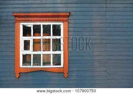 Blue Grey Wooden House Wall With Big Window Coyspace