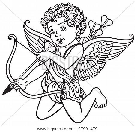 cupid black and white
