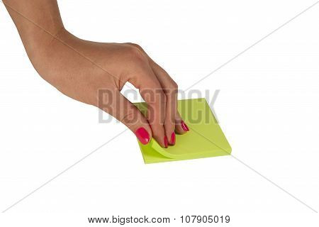 Woman Hand With Office Stickers Isolated On White Background
