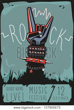 Rock poster with a hand.