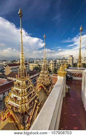 Wat Ratchanaddaram And Loha Prasat Metal Palace In Bangkok ,thailand