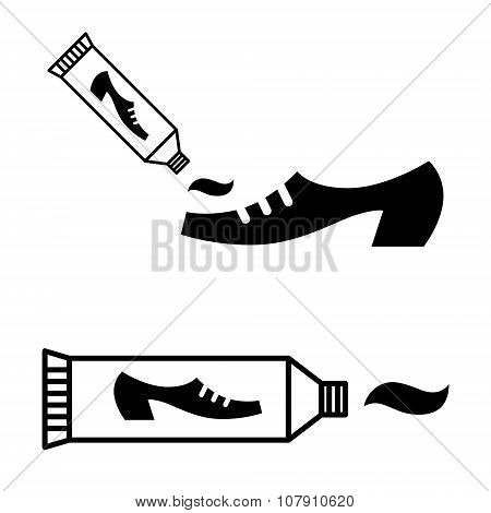 Tube of shoe polish cream