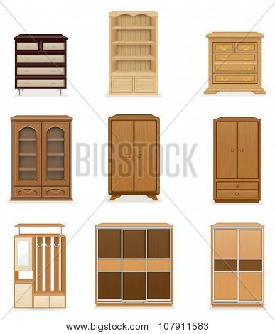 Set Icons Furniture Wardrobe Cupboard And Commode Vector Illustration