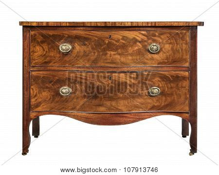 old vintage antique chest of drawers mahogany wood isolated on white with clipping path. poster