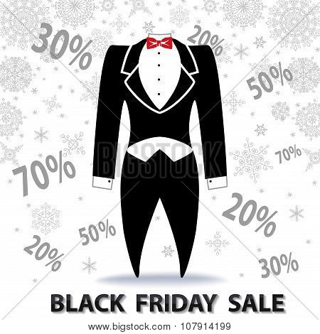 Black friday Sale.Tailcoat, snowflakes,numbers