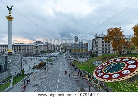 Panoramic View Of The Evening Independence Square And The Street. Kiev