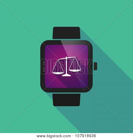Smart Watch Vector Icon With  An Unbalanced Weight Scale