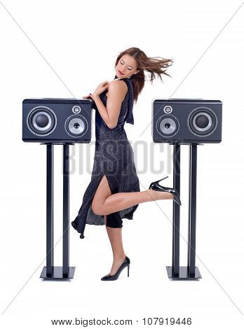 Sexy woman with audio equipment