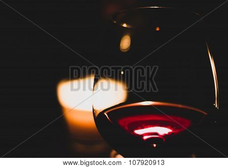 Red wine and a candle