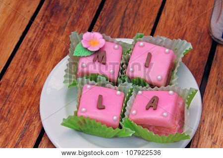 Petit fours on a plate