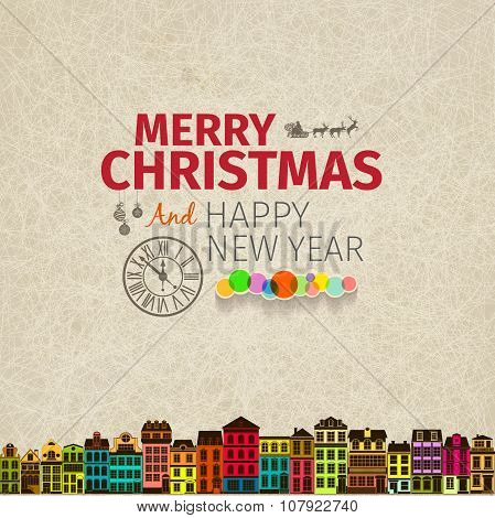 Vintage retro flat style trendy Merry Christmas card and New Year wish greeting.