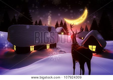 Digitally generated Snow covered village and rudolph