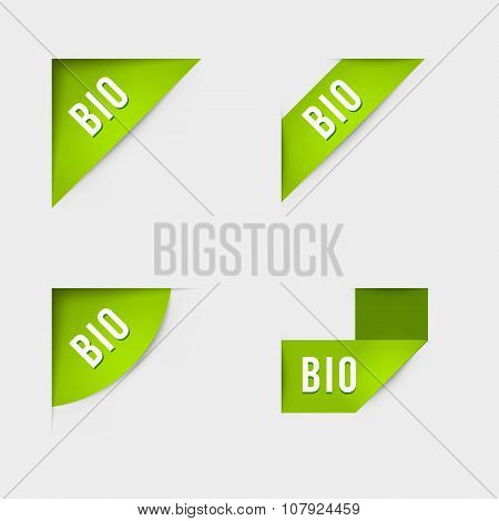 Bio and Bio product labels. Isolated vector illustration. poster