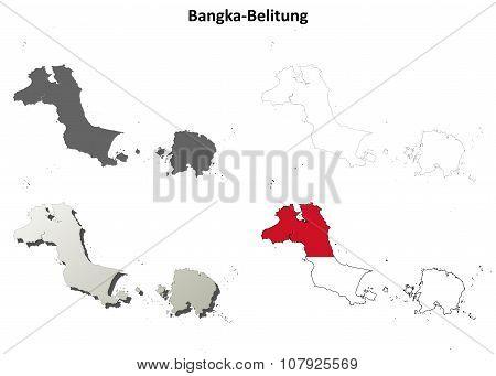 Bangka-Belitung blank outline map set