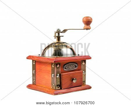 Photo of an antique coffee grinder isolated on a white background. poster