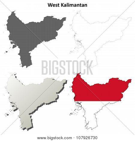 West Kalimantan blank outline map set