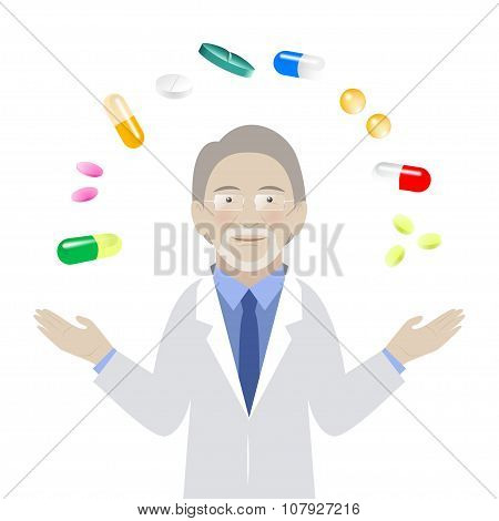 Pharmacologist With Different Kind Of Pills On White Background
