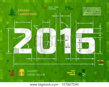 New Year 2016 As Technical Blueprint Drawing