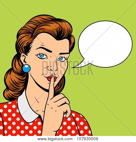 Girl with finger silence gesture pop art retro style vector illustration. Comic book imitation poster