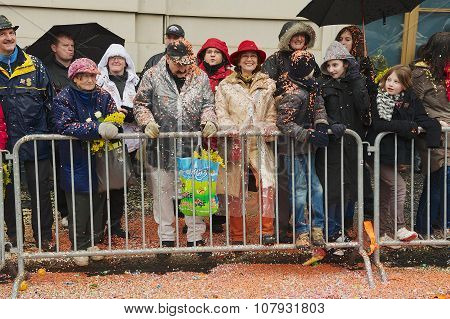 People watch parade at Basel Carnival in Basel, Switzerland.