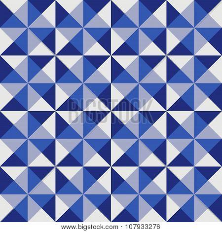 Geometric pattern in blue triangles