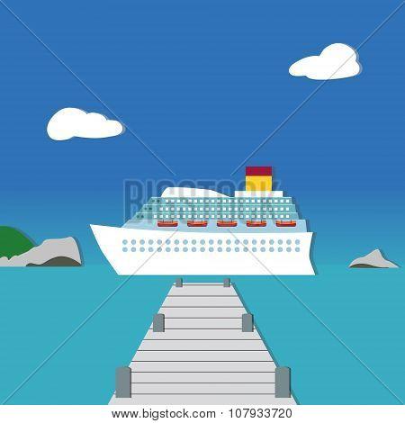White criuse ship in beautiful scenery