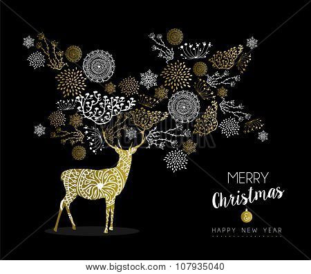 Merry Christmas New Year Gold Deer Nature Vintage