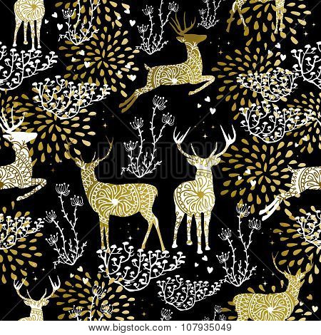 Christmas Golden Seamless Pattern Deer Reindeer
