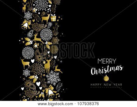 Merry Christmas Happy New Year Gold Pattern Retro